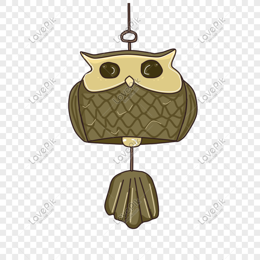 hand drawn owl wind chime illustration png