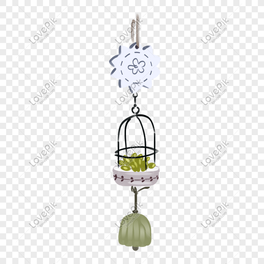 cartoon small basket pendant wind chimes png