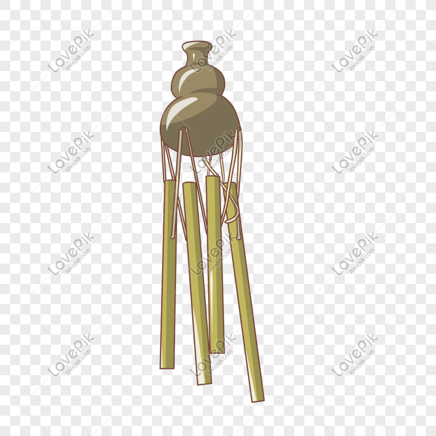 gourd bamboo wind chimes illustration png