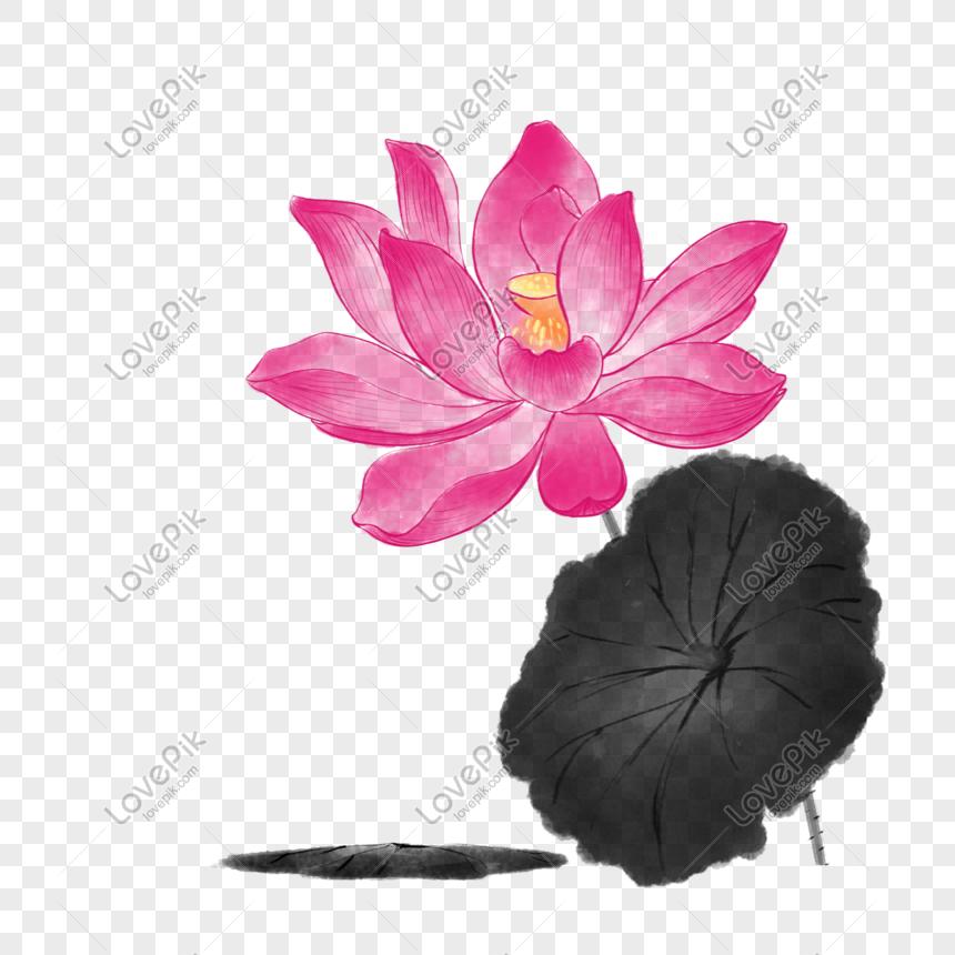 Lukisan Bunga Lotus Gaya Cina Png Grafik Gambar Unduh Gratis Lovepik