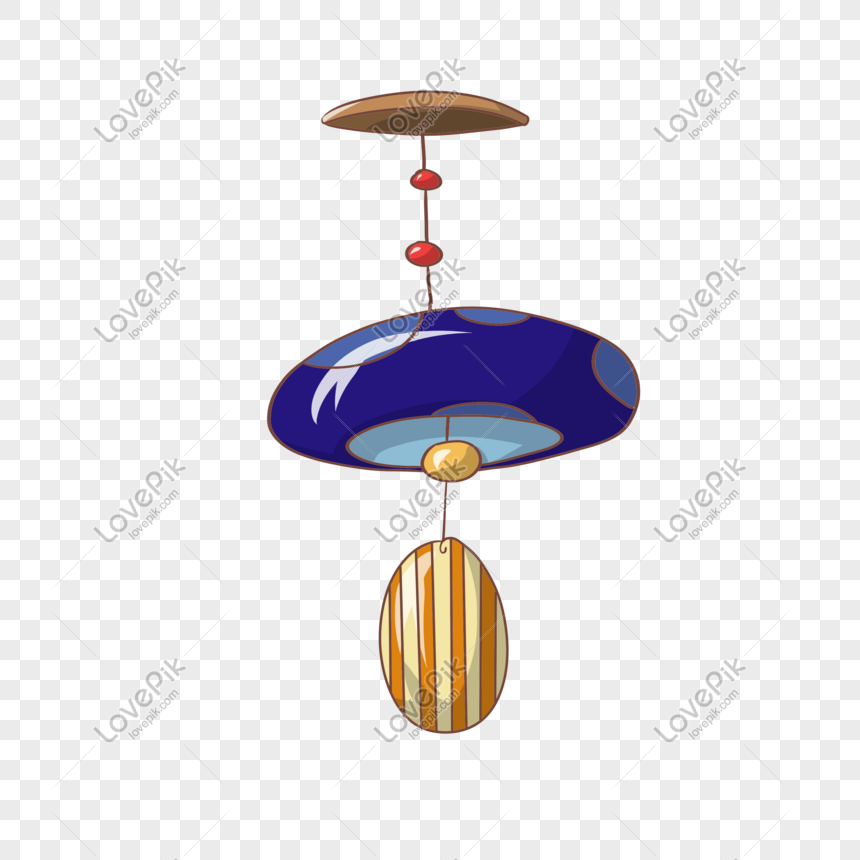 cartoon blue wind chime illustration png