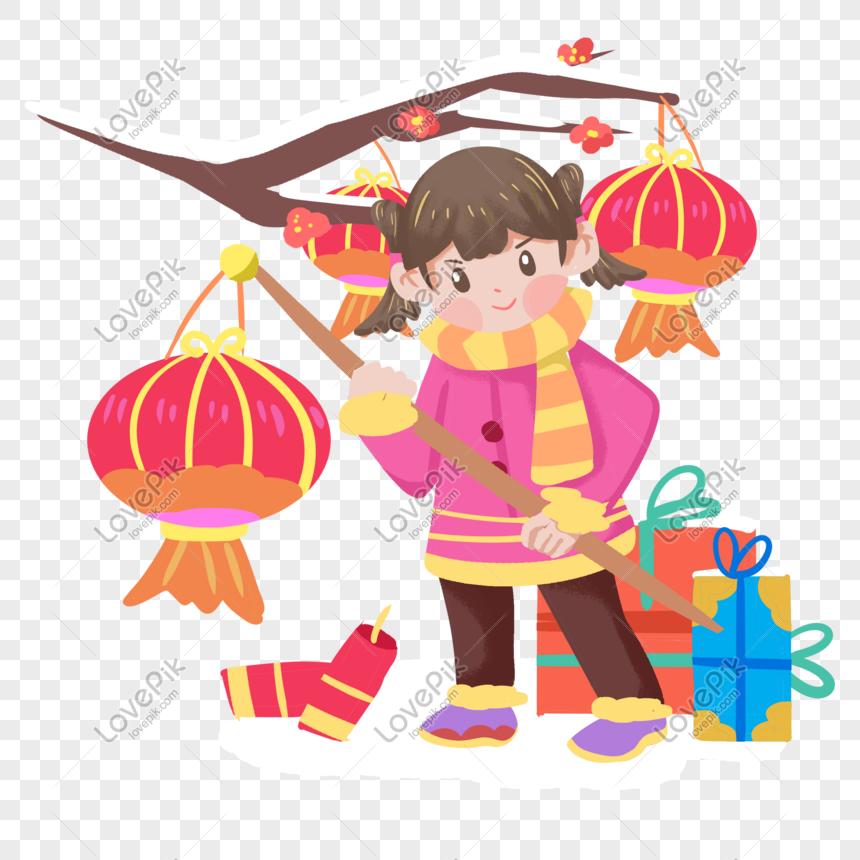 中国の旧正月女の子ランタン手描きイラストイメージ グラフィックス Id Prf画像フォーマットpsd Jp Lovepik Com