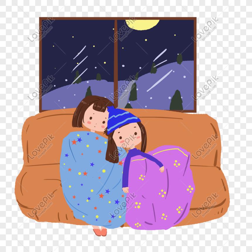 Amigos Viendo La Televisión En El Sofá Alrededor De La