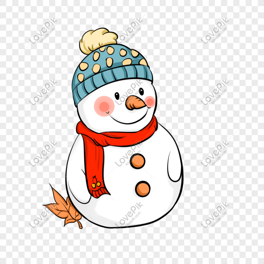 Cute Cartoon Illustration Of A Little Snowman Wearing A Hat Png