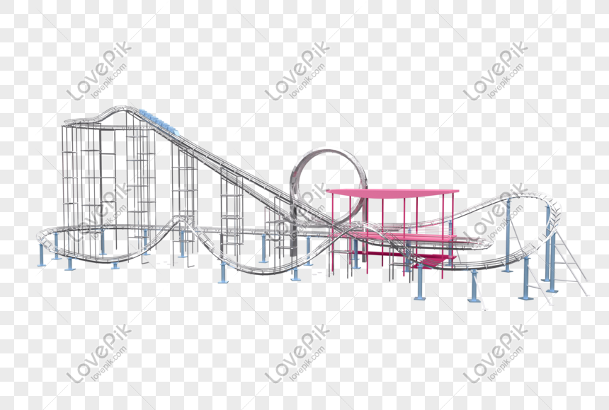 3d cartoon style playground roller coaster png image_picture
