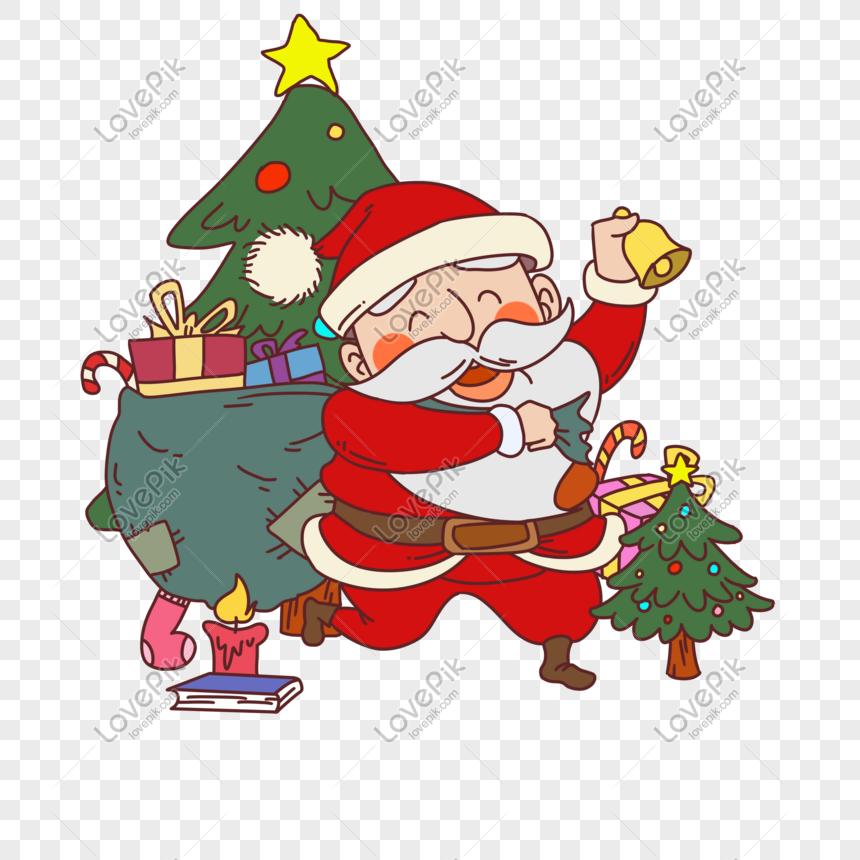 Santa Claus Dan Pohon Natal Gambar Unduh Gratis Grafik