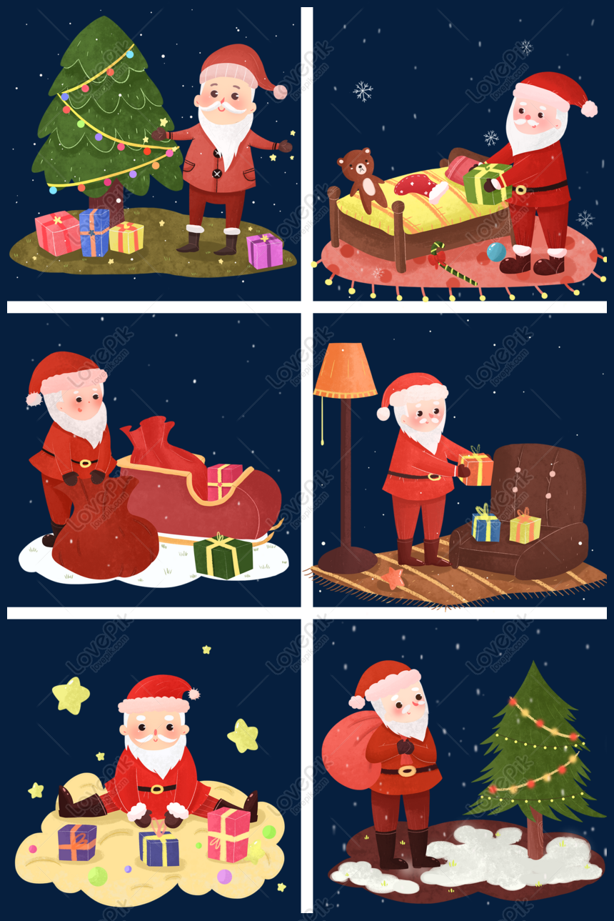 Kartun Lucu Natal Santa Claus Memberikan Ilustrasi Hadiah