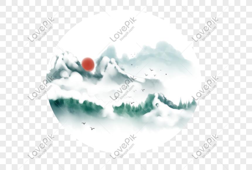 Cena De Neve De Inverno De Tinta Dos Desenhos Animados Imagem