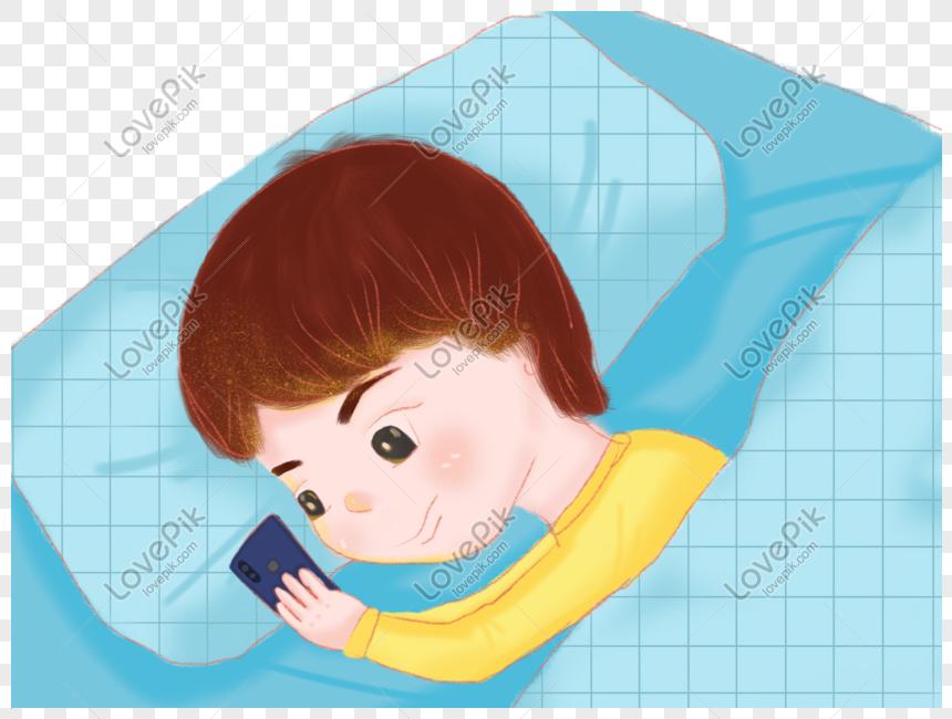Tidur Siang Dan Malam Bermain Telefon Kartun Lelaki Telefon