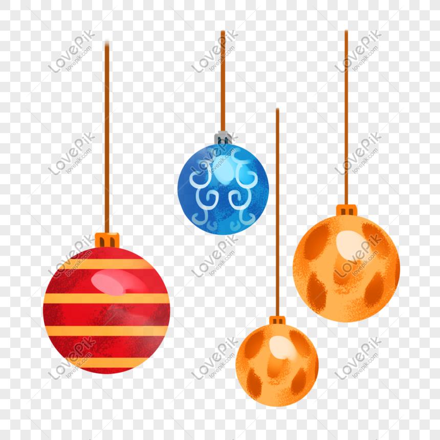 Ilustrasi Ornamen Bola Natal Menggantung Gambar Unduh