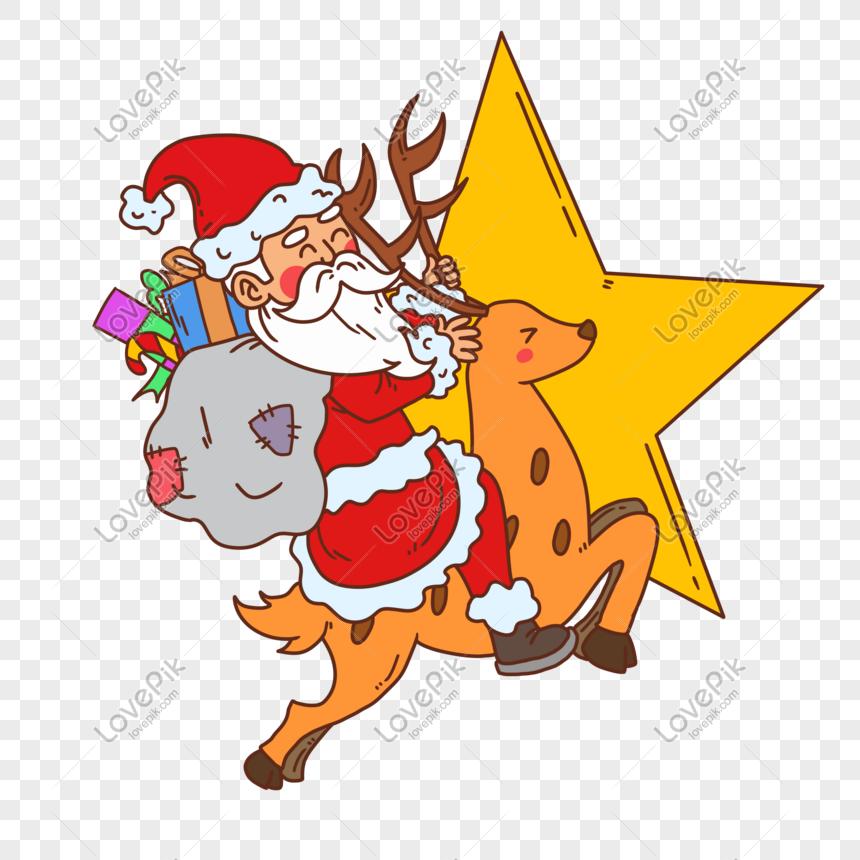 Noel Baba Bir Geyik Surme Resim Grafik Numarasi 611609367 Tr
