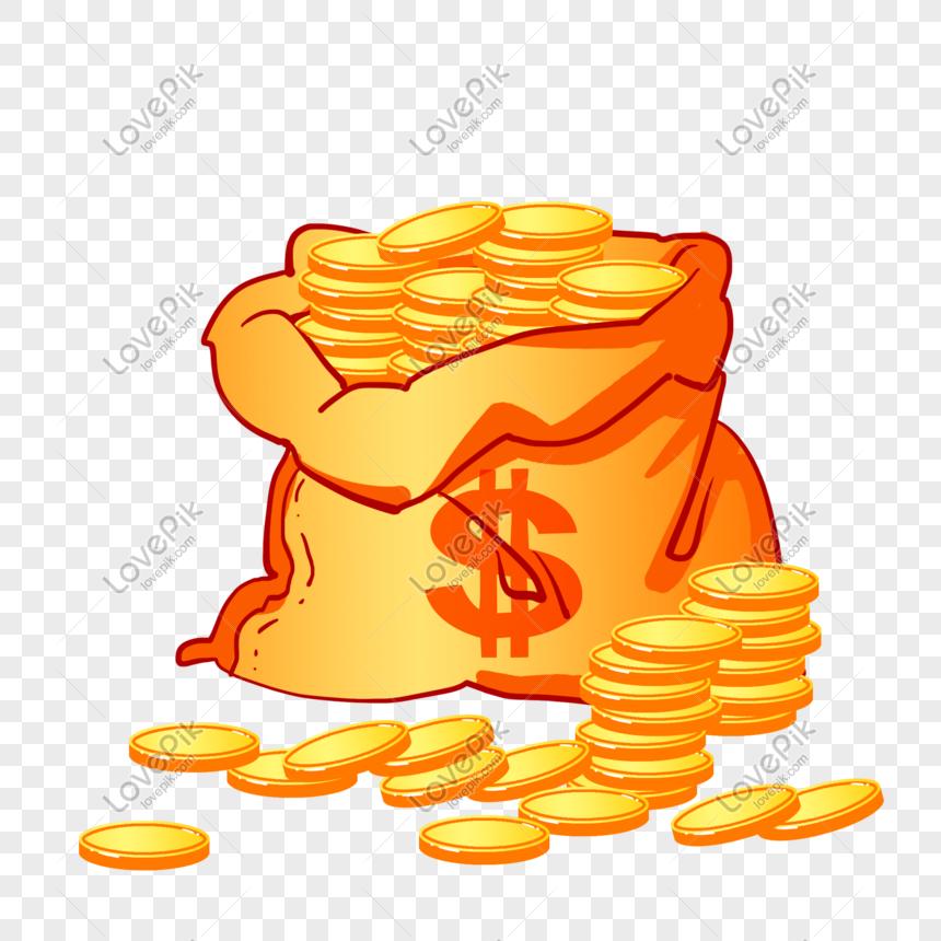 Bolso Dorado De Dibujos Animados Billetes Monedas De Oro Imagen