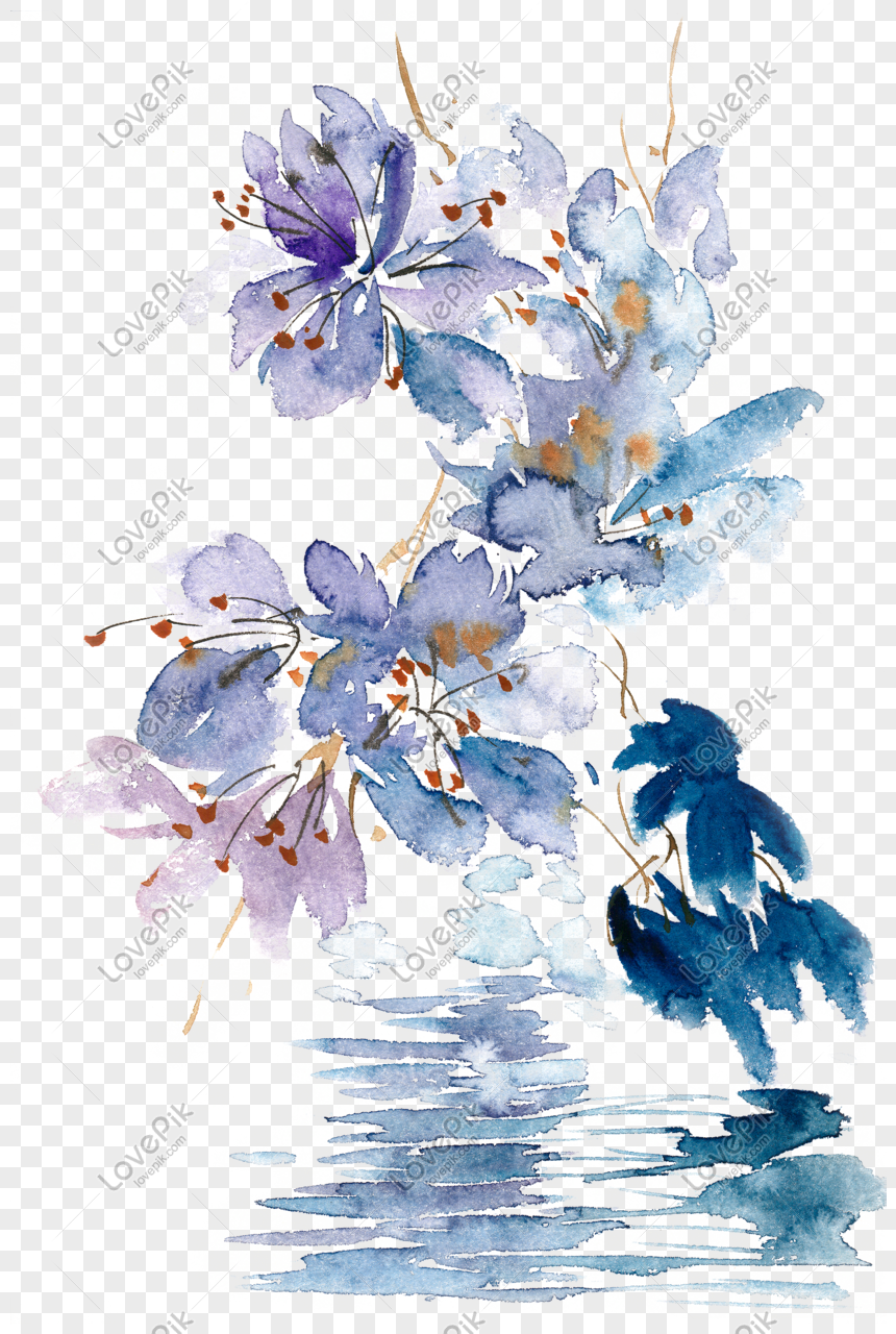 Cat Air Bunga Biru Bahan Png Gratis Png Grafik Gambar Unduh Gratis