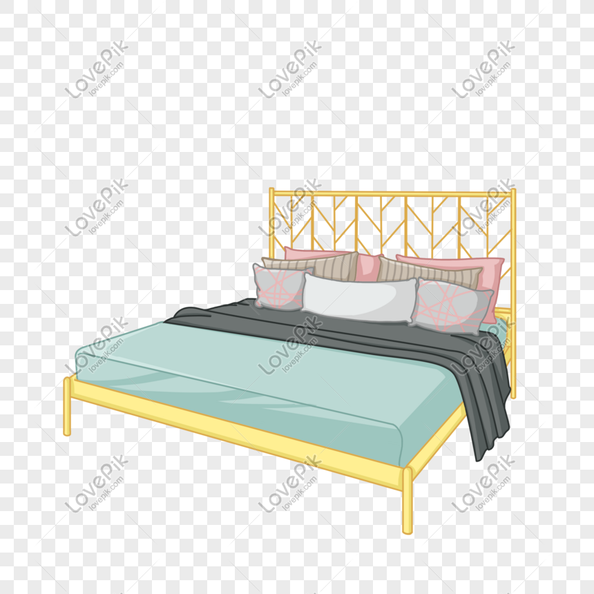 Dibujos Animados Color Claro Diseño Dormitorio Cama Imagen