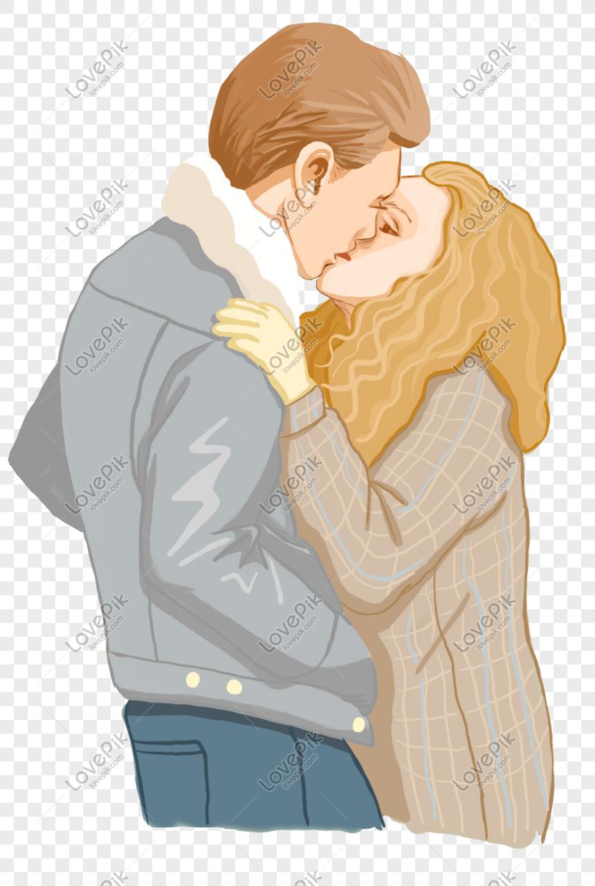 Kiss Teman Wanita Di Sebelah Sudut Jalan Gambar Unduh
