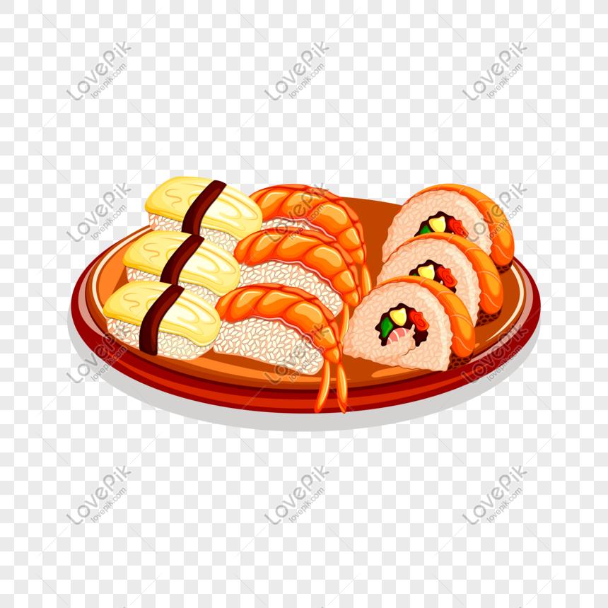 vector hand drawn cartoon food sushi png