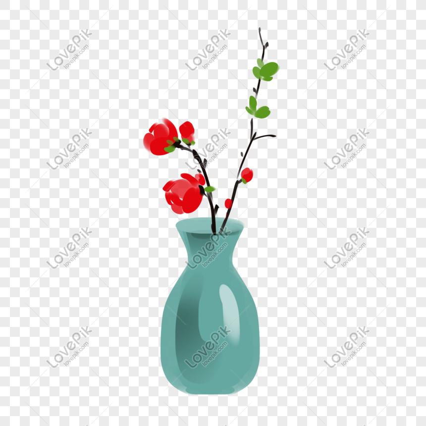 Ilustrasi Pengaturan Vas Bunga Porselen Hijau Png Grafik Gambar Unduh Gratis Lovepik