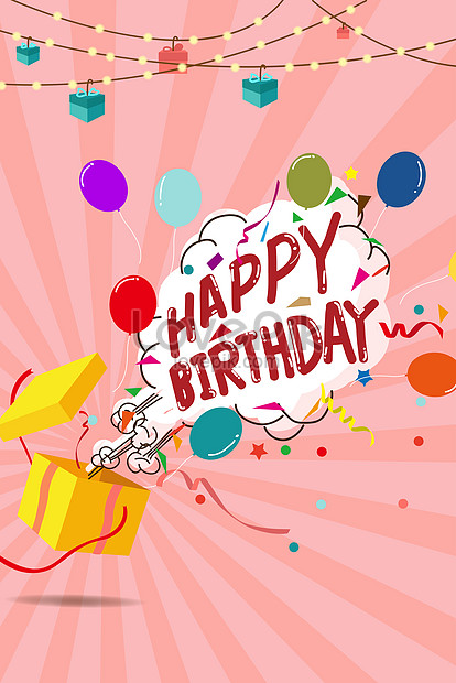 cartoon happy birthday card vector png