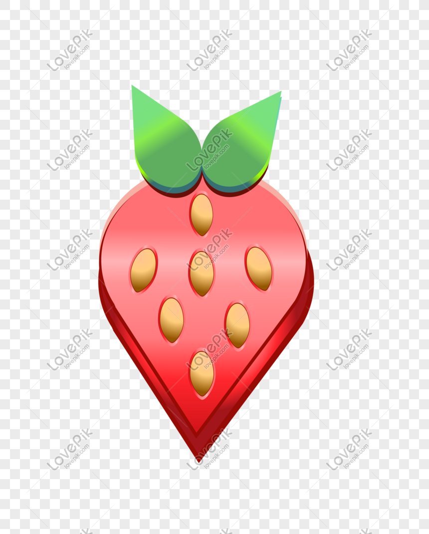 red strawberry hand drawn illustration png