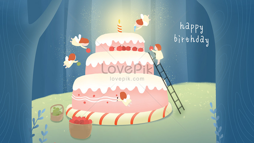 Fabulous Happy Birthday Forest Elf Making Cake Illustration Image Picture Birthday Cards Printable Nowaargucafe Filternl