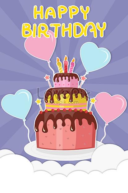 Excellent Paper Cut Style Small Fresh Birthday Cake Illustration Funny Birthday Cards Online Amentibdeldamsfinfo
