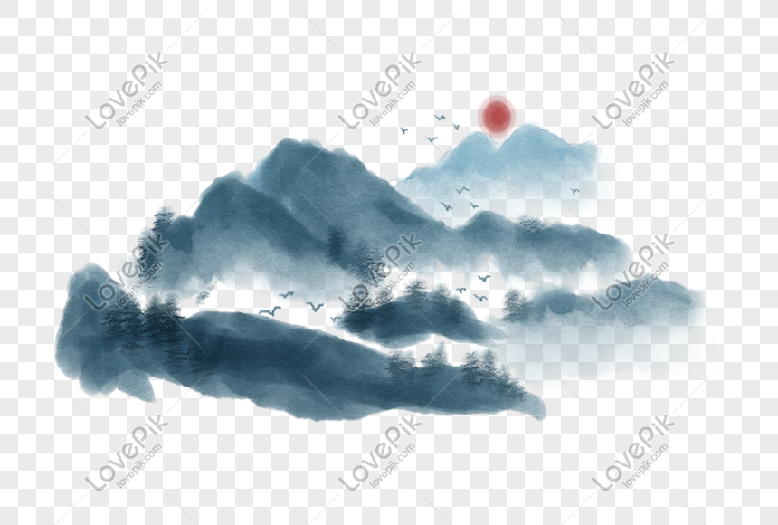 chinese painting ink landscape illustration png