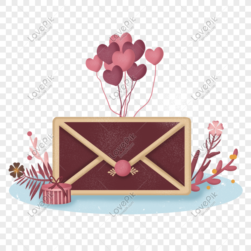 Balon Surat Cinta Seri Romantis Merah Muda Valentine Gambar
