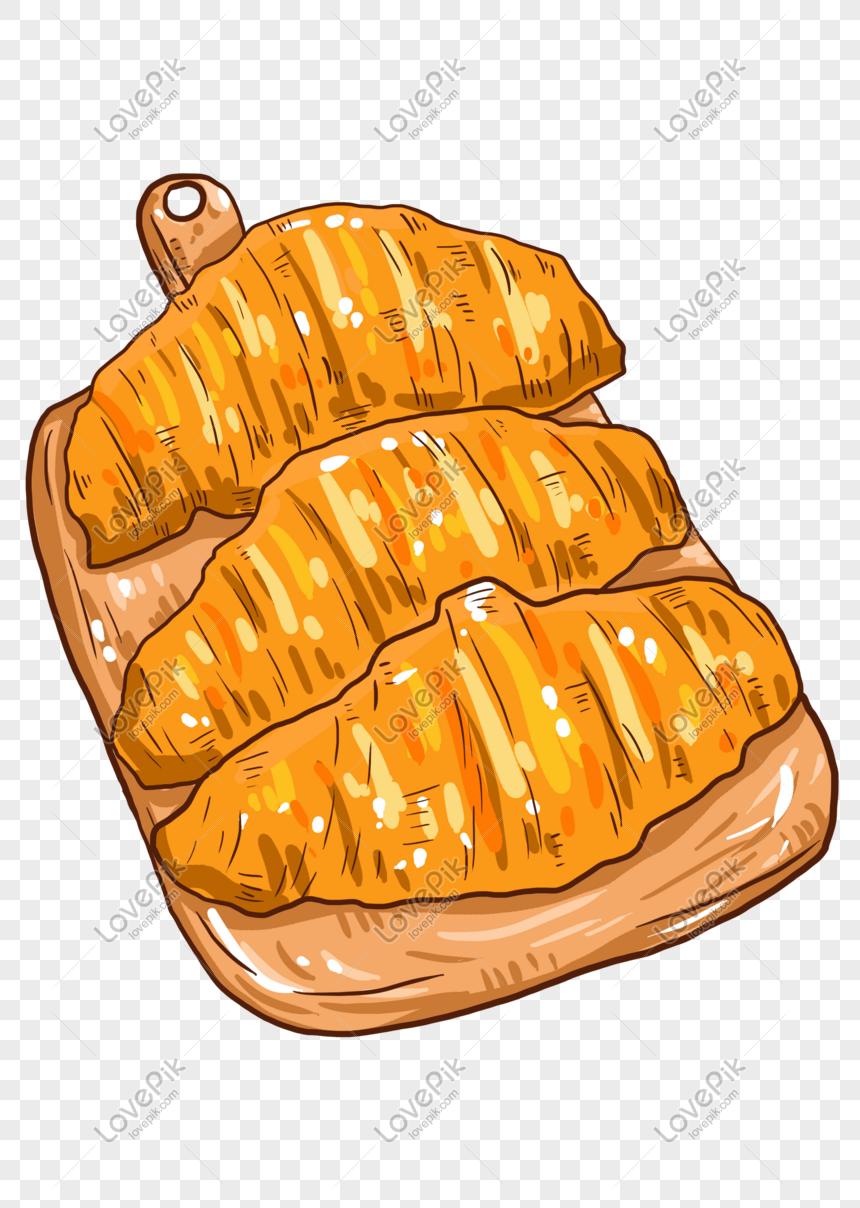 Ilustrasi Makanan Roti Lucu Kartun Yang Ditarik Tangan