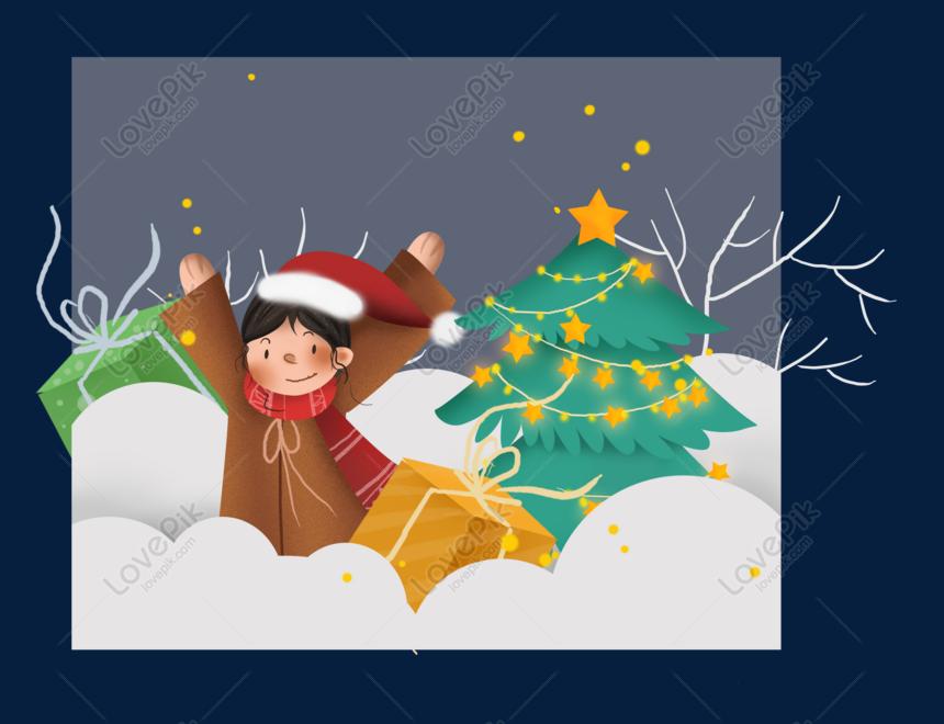 Cartão Azul Dos Desenhos Animados De Natal Imagem