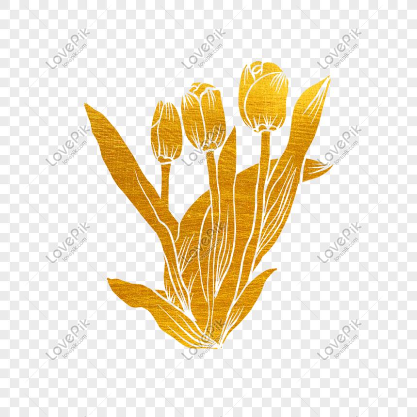 Bunga Emas Yang Dipotong Kertas Dan Bunga Palem Putih Png Grafik Gambar Unduh Gratis Lovepik