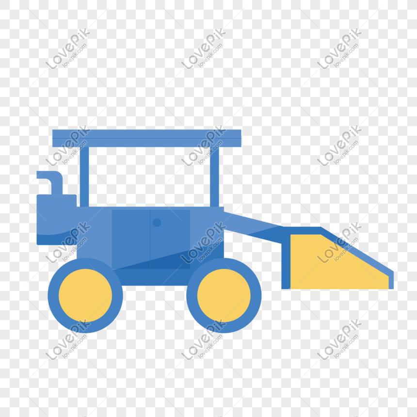 Ilustracao De Trator Azul Dos Desenhos Animados De Agricultura
