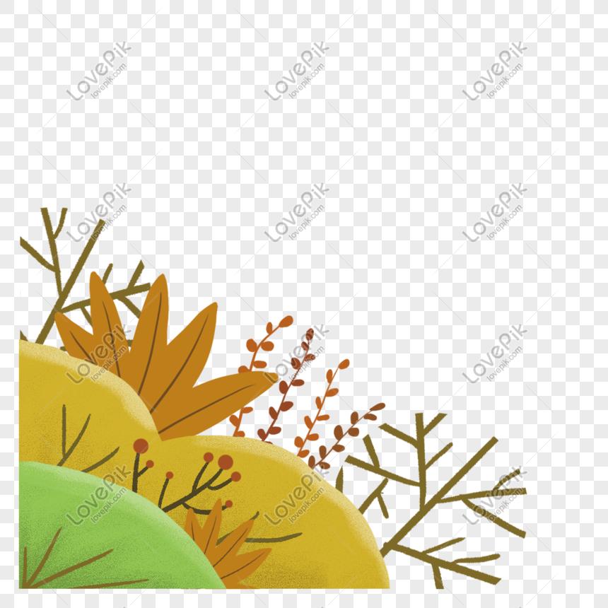Tangan Musim Gugur Ditanam Tumbuhan Rumput Lukisan Unsur Bebas P