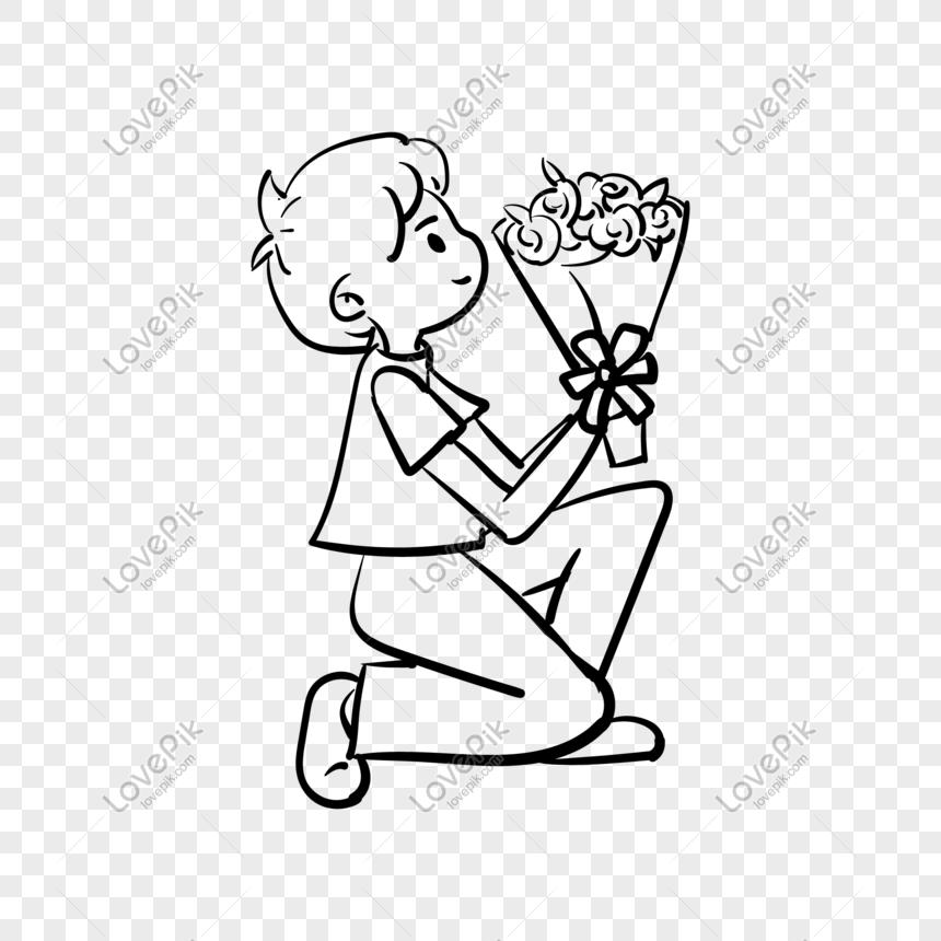 Dia Dos Namorados Desenho Linha Buquet Ilustracao Imagem