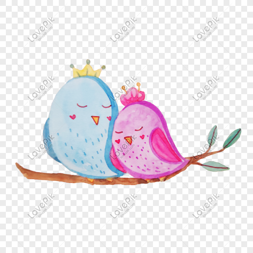 Cute Couple Little Bird Illustration Png Image Psd File Free Download Lovepik 611695988