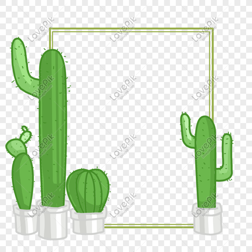 Cactus Potted Decorative Text Box Png Image Picture Free
