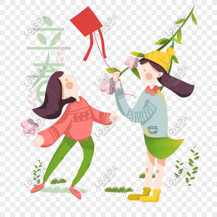 spring girl flying kite hand drawn illustration png