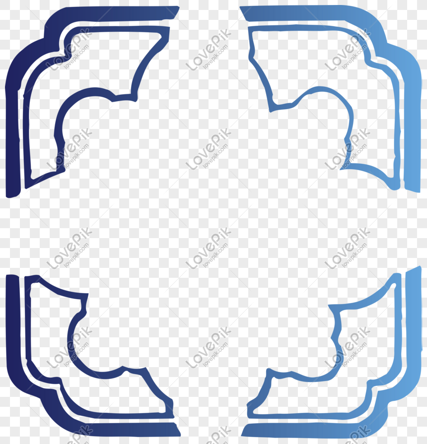 Gradient blue corner frame png image_picture free download