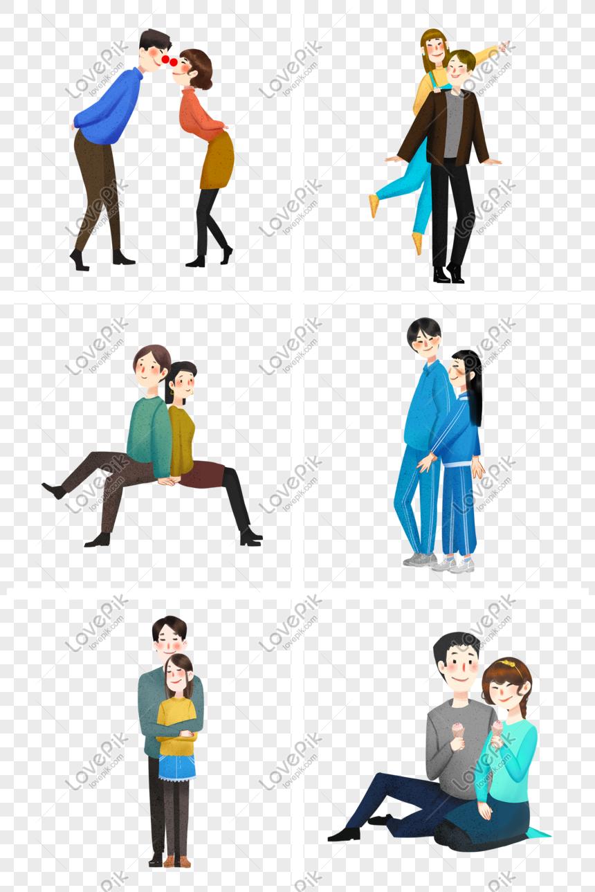 Mao De Desenho Animado Desenhada Seis Casais Felizes Cartaz Cria