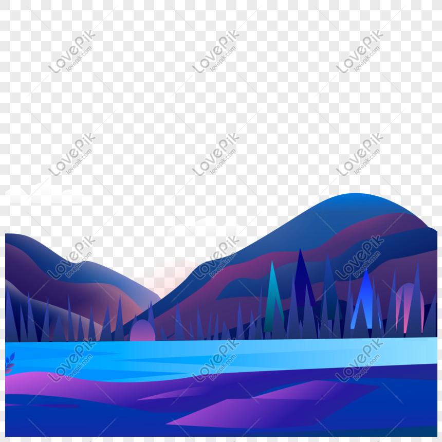 Một Nhóm Các Bức Tranh Màu Nước Thời Trang Núi Tươi Sáng Và