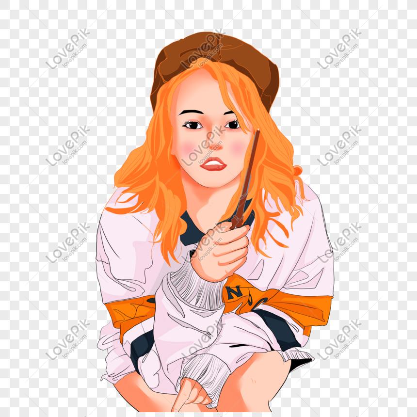 Morandi Color Hand Painted Fashion Hipster Cartoon Elegant Girl