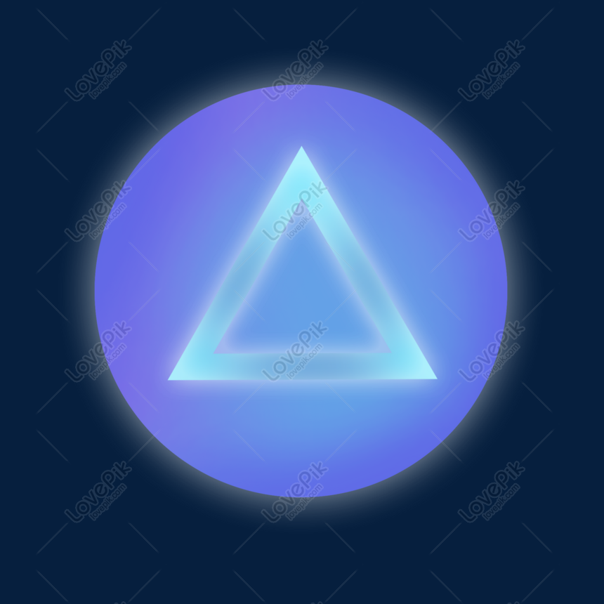 Blue round triangle button light effect png image_picture free