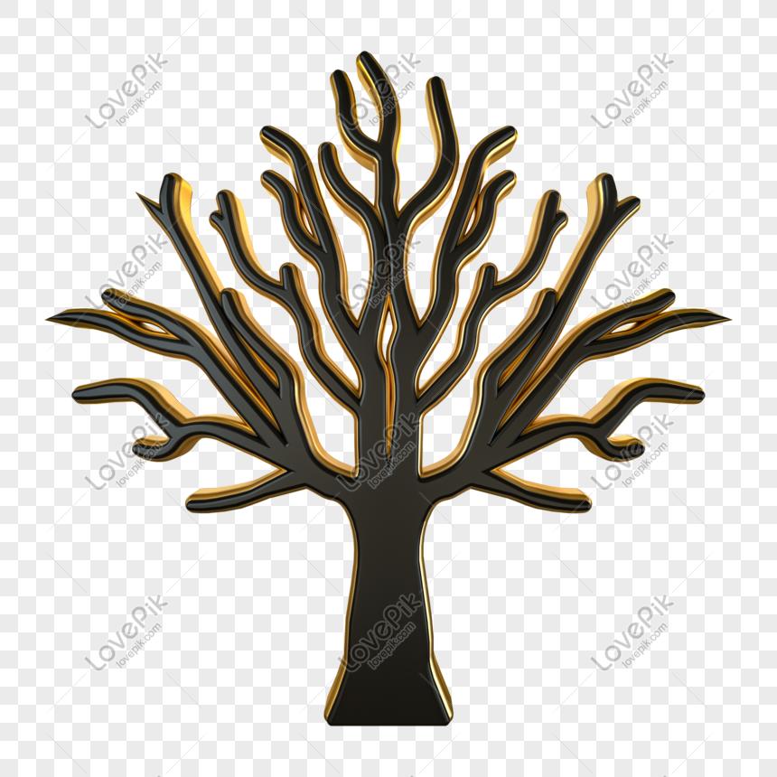 C4d black gold texture three dimensional tree png
