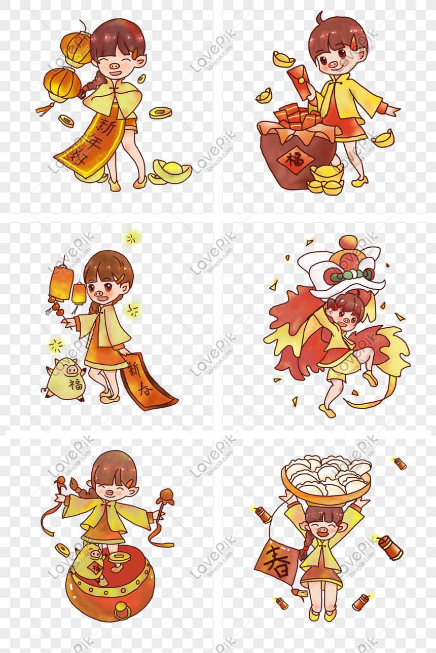 Koleksi Tahun Baru Cina Gaya Lukisan Tangan Gambar Unduh Gratis Imej 611710470 Format Psd My Lovepik Com