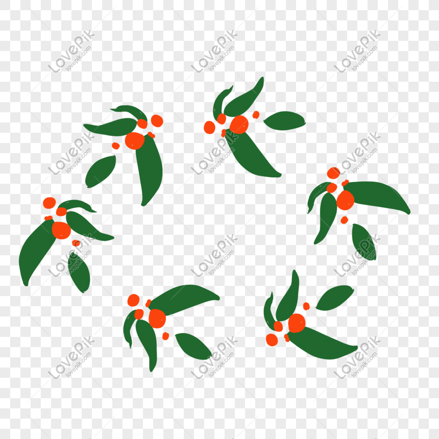 Christmas Leaf Png.Hand Painted Green Small Fresh Christmas Leaf Wreath Png