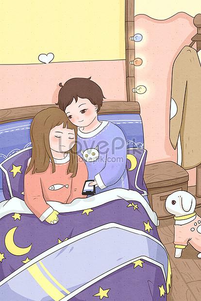 Valentine Romantic Couple Sleeping Good Night Night Illustration Illustration Image Picture Free Download 630022865 Lovepik Com