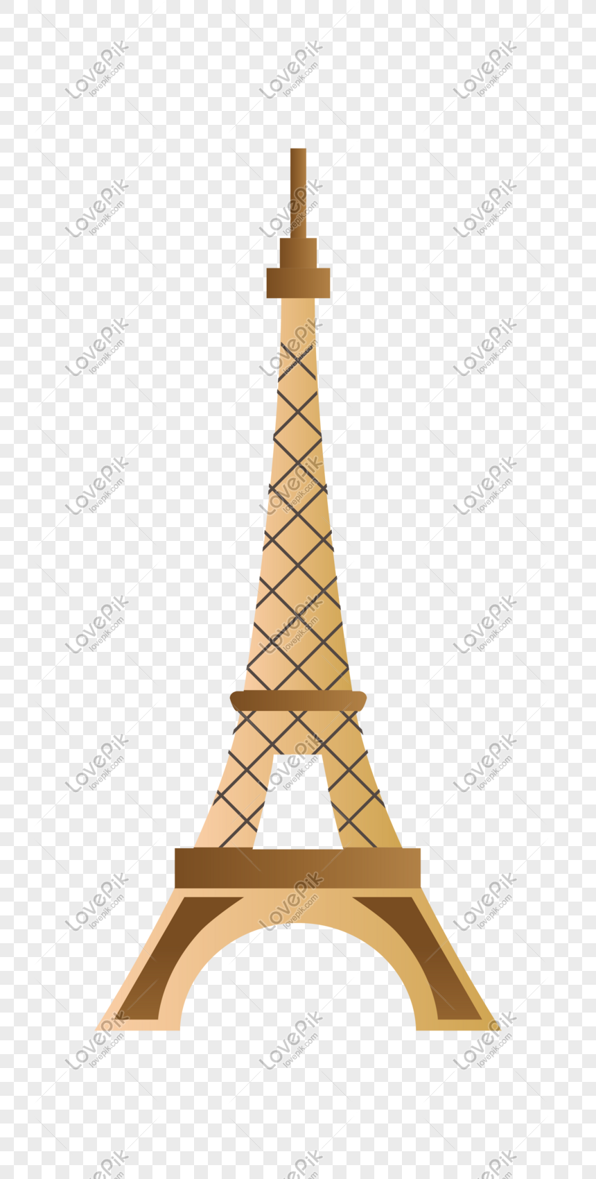 Hand Drawn Building Landmark Eiffel Tower Illustration Png