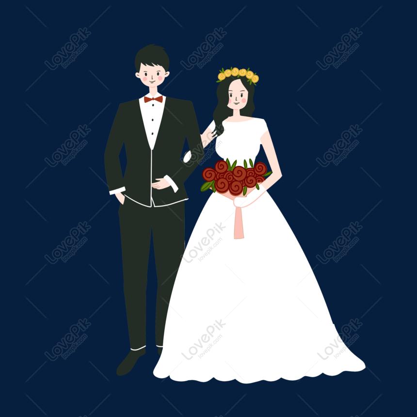 Vektor Kartun Tangan Tangan Rata Pasangan Perkahwinan Meningkat