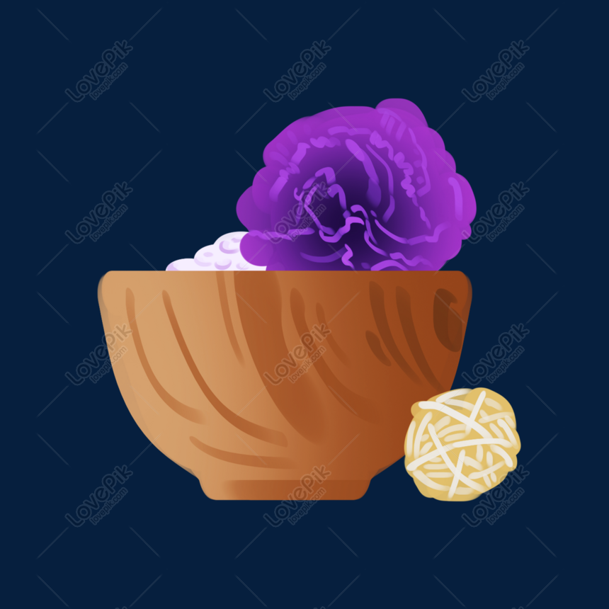 a bowl of purple flowers illustration png