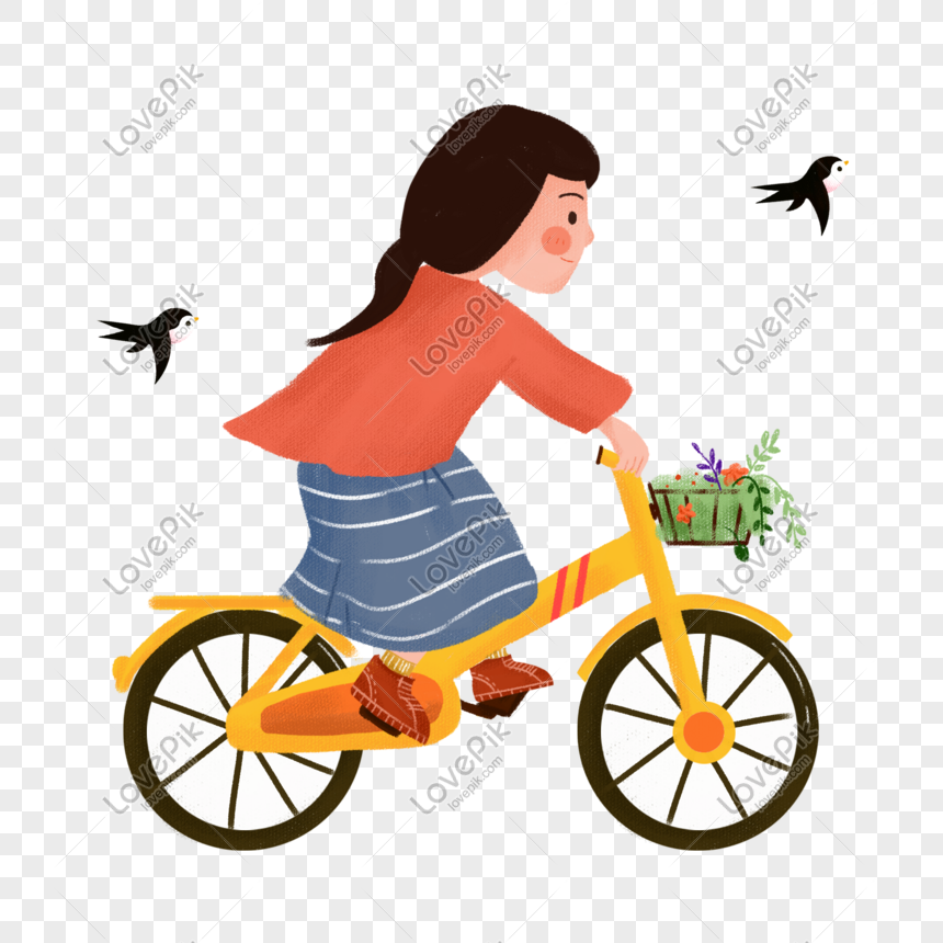 Hand Drawn Spring Riding Bicycle Illustration Png Image Picture Free Download 611715643 Lovepik Com