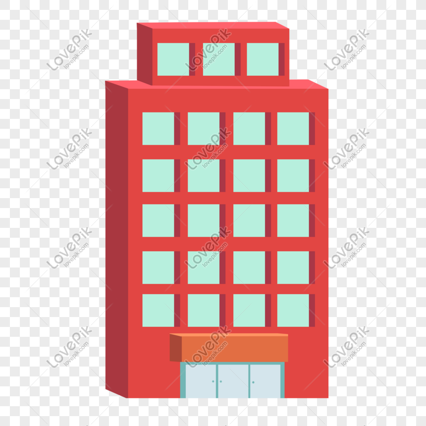 edificio alto de dibujos animados tridimensional rojo ...